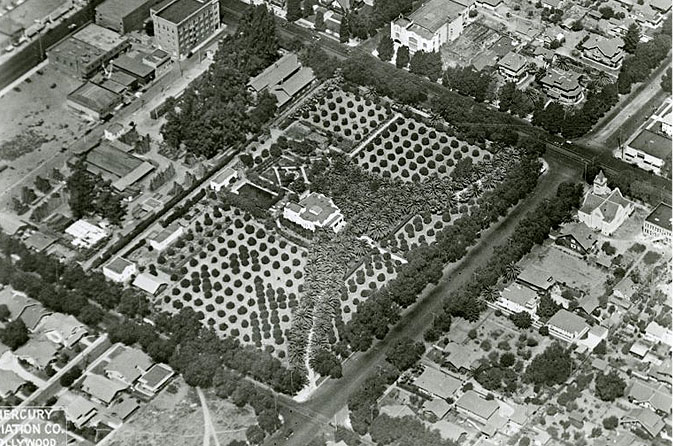 Historic aerial photograph of the Jacob Stern residence at the corner of Hollywood Blvd. and Vine Street