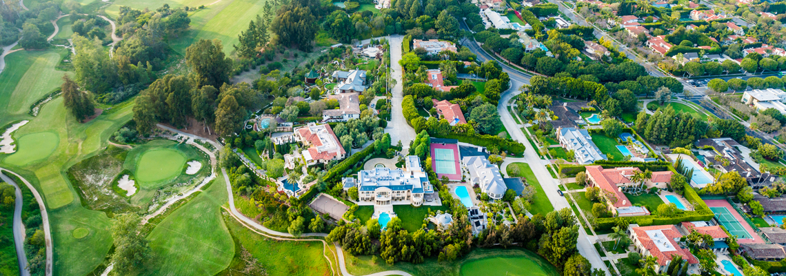 Aerial perspective of luxury homes in the Copley Place, Beverly Hills, CA