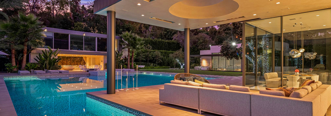 The scene inside a luxury home with a pool in Beverly Hills, California